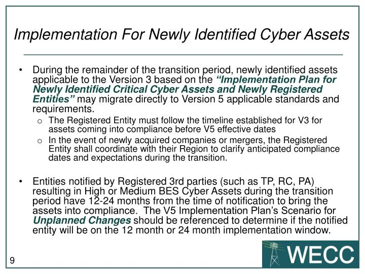 Implementation For Newly Identified Cyber Assets