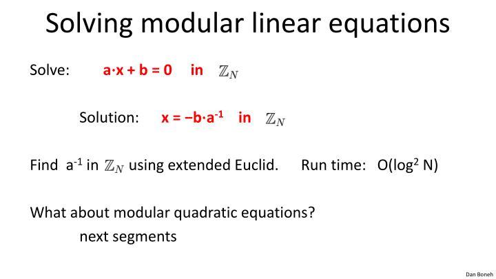 Solving modular linear equations