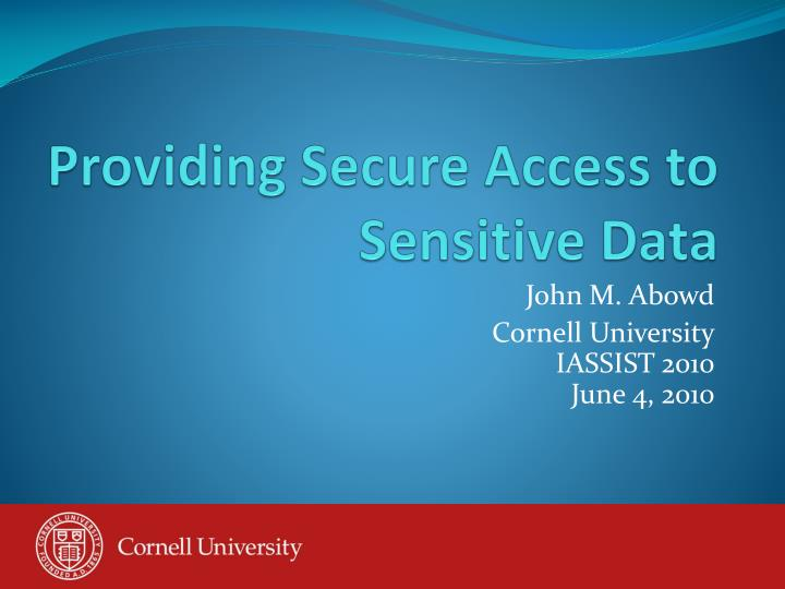 Providing secure access to sensitive data