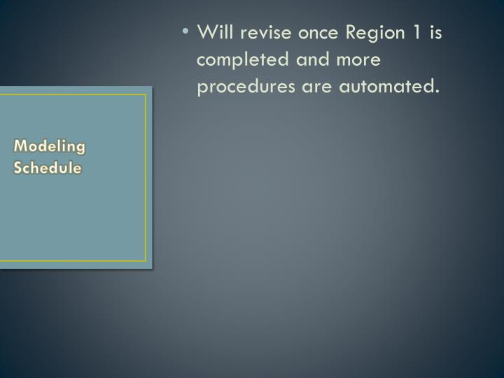 Will revise once Region 1 is completed and more procedures are automated.