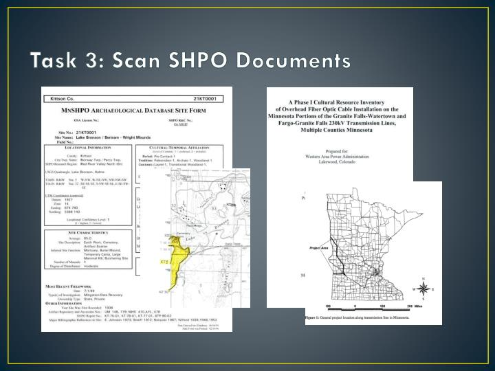 Task 3: Scan SHPO Documents