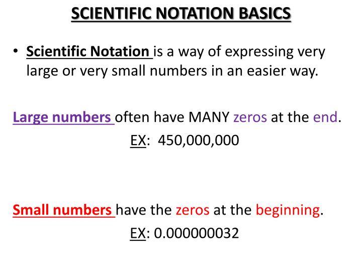 SCIENTIFIC NOTATION BASICS