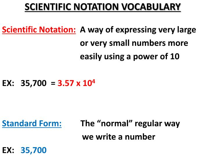 Scientific notation vocabulary