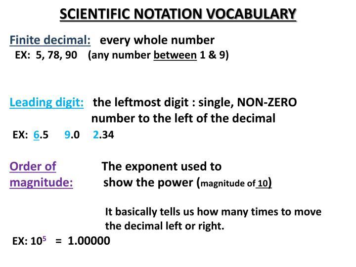 Scientific notation vocabulary1