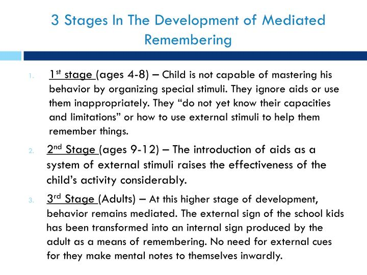 3 Stages In The Development of Mediated Remembering