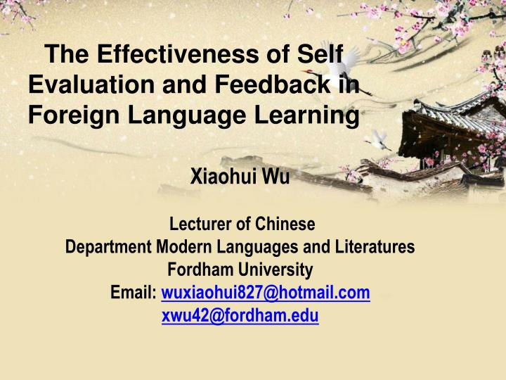 the effectiveness of self evaluation and feedback in foreign language learning n.