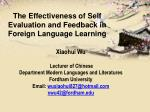 the effectiveness of self evaluation and feedback in foreign language learning