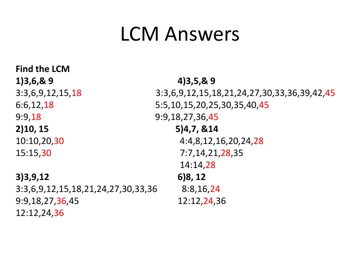LCM Answers