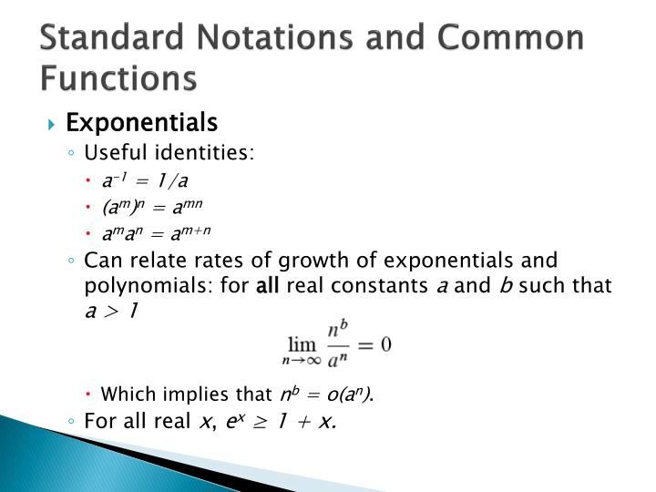 Standard Notations and Common Functions