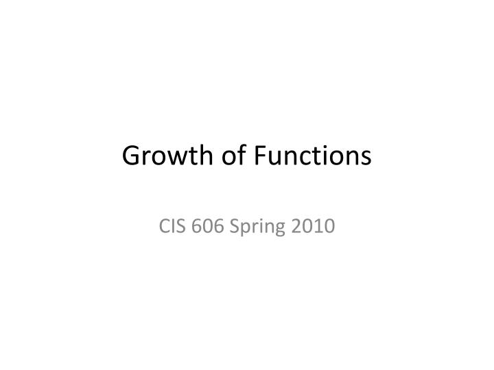 growth of functions n.