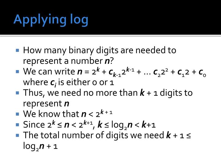 Applying log