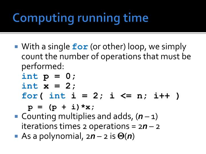 Computing running time