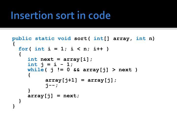 Insertion sort in code