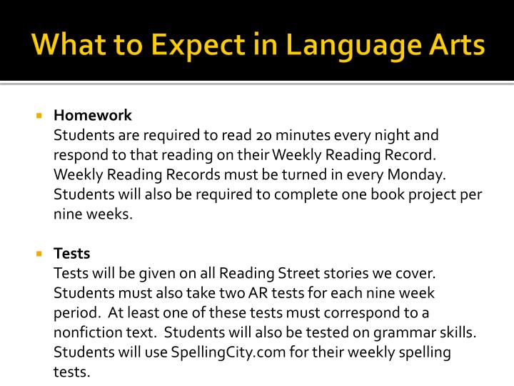 What to Expect in Language Arts
