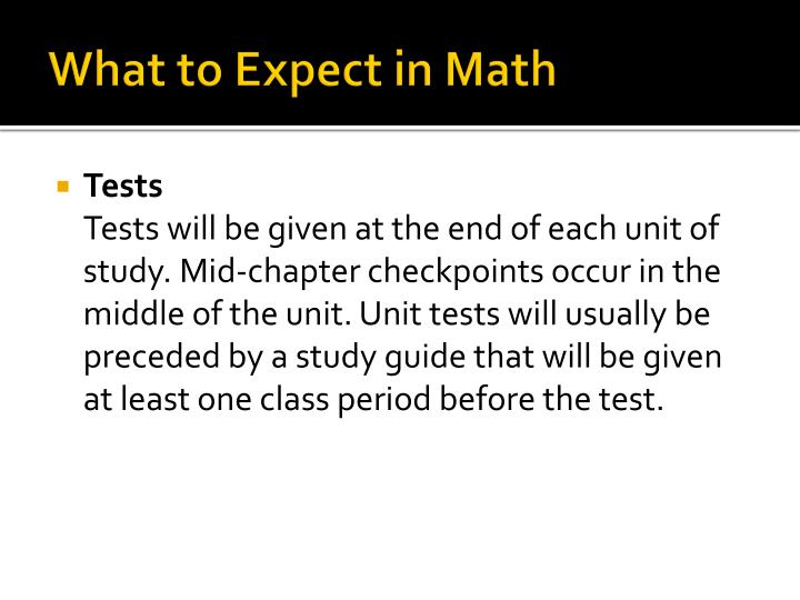 What to Expect in Math