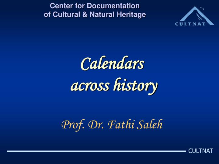 Calendars across history