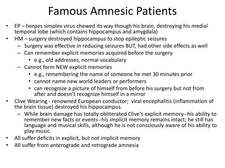 Famous Amnesic Patients