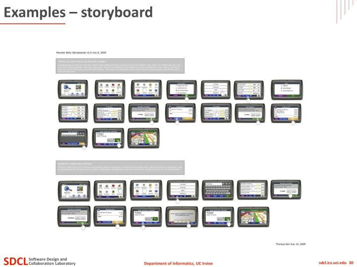 Examples – storyboard