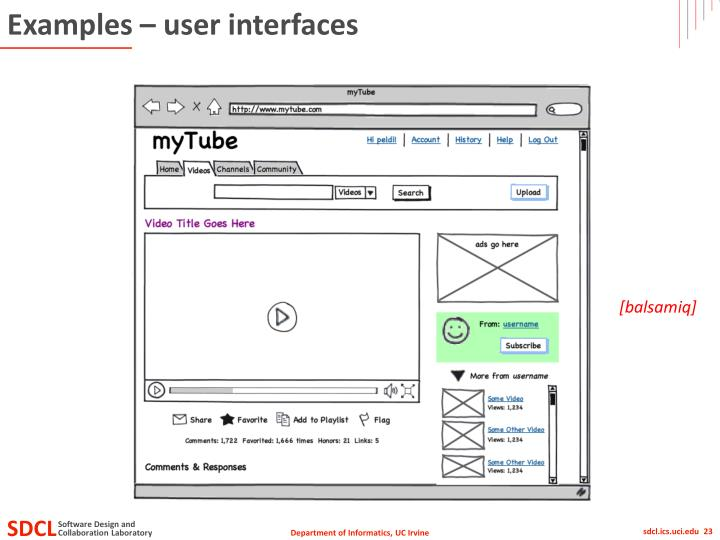 Examples – user interfaces