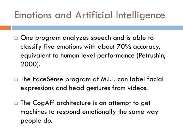 Emotions and Artificial Intelligence