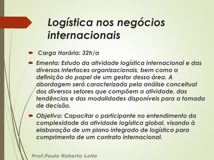Log stica nos neg cios internacionais