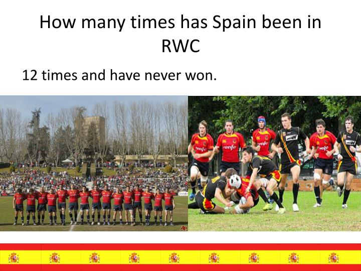 How many times has Spain been in RWC