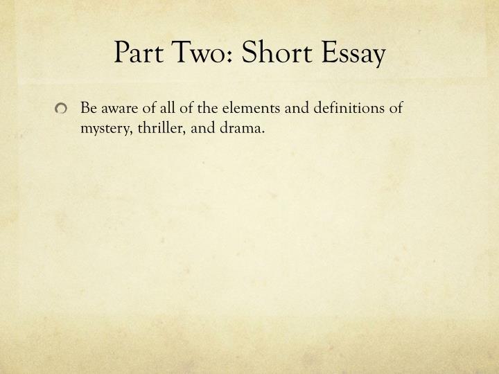 Part Two: Short Essay