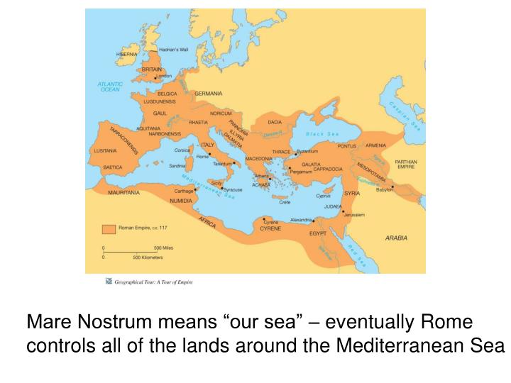 "Mare Nostrum means ""our sea"" – eventually Rome controls all of the lands around the Mediterranean Sea"