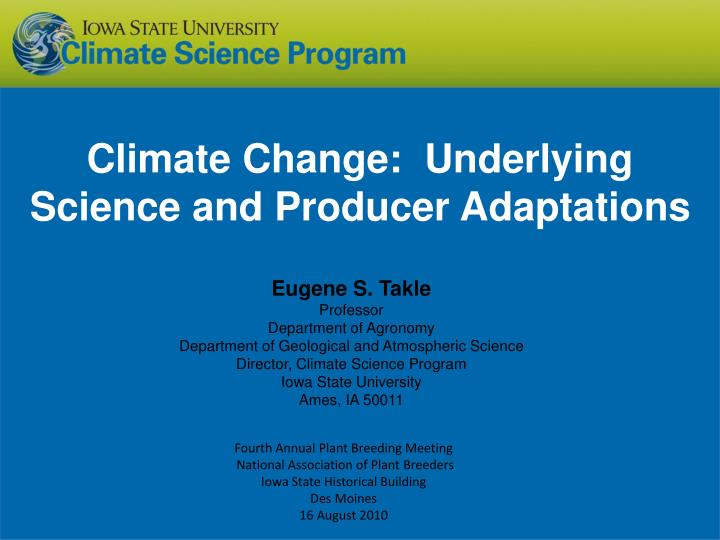 climate change underlying science and producer adaptations