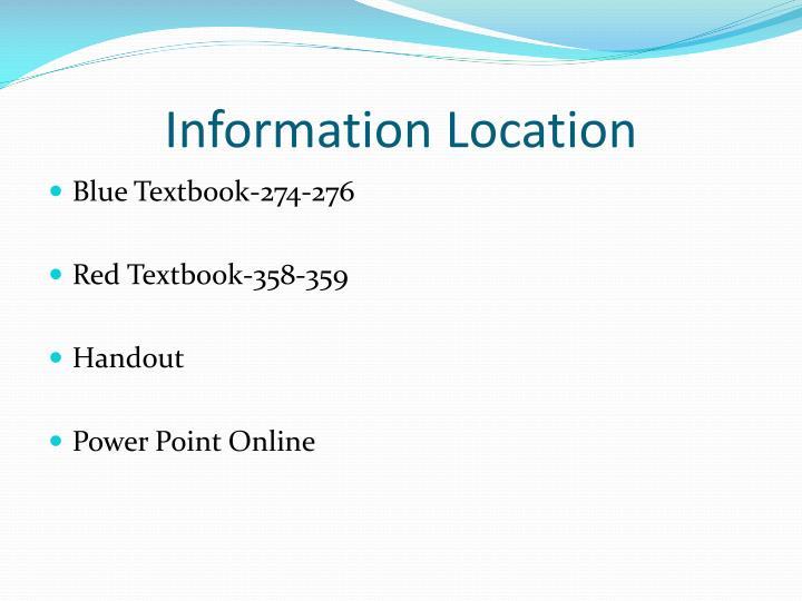 Information location
