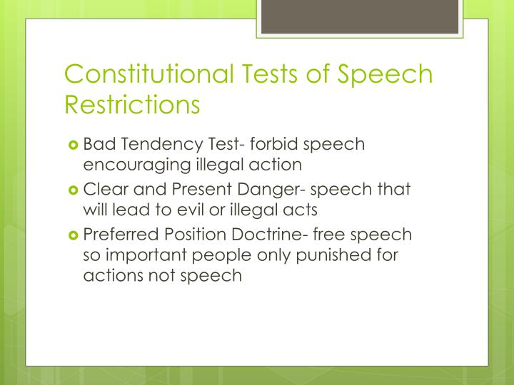 Constitutional Tests of Speech Restrictions