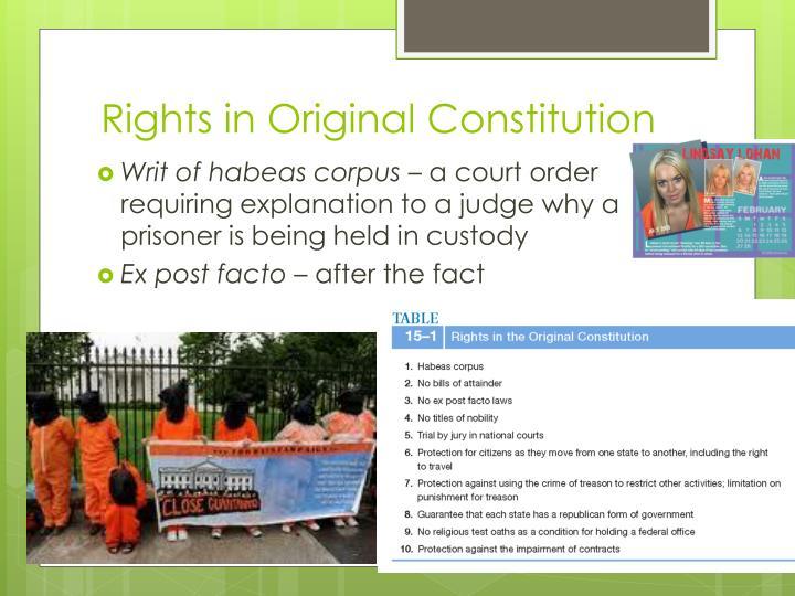 Rights in Original Constitution