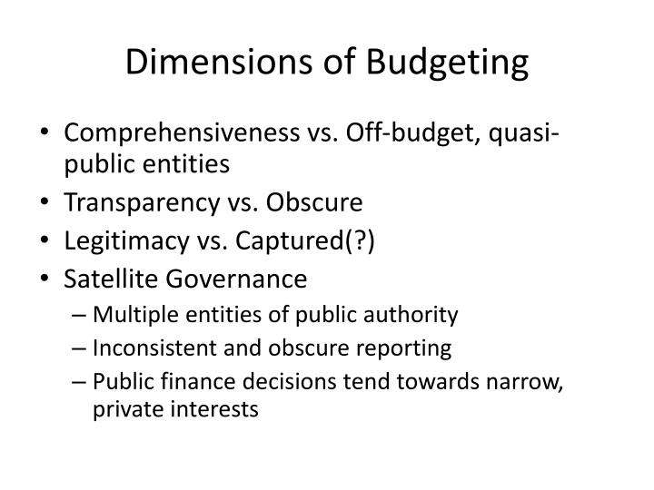 Dimensions of budgeting