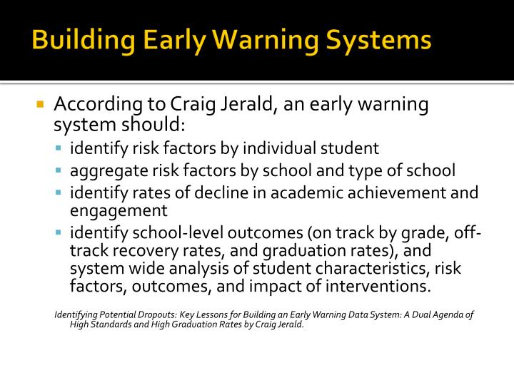 Building Early Warning Systems