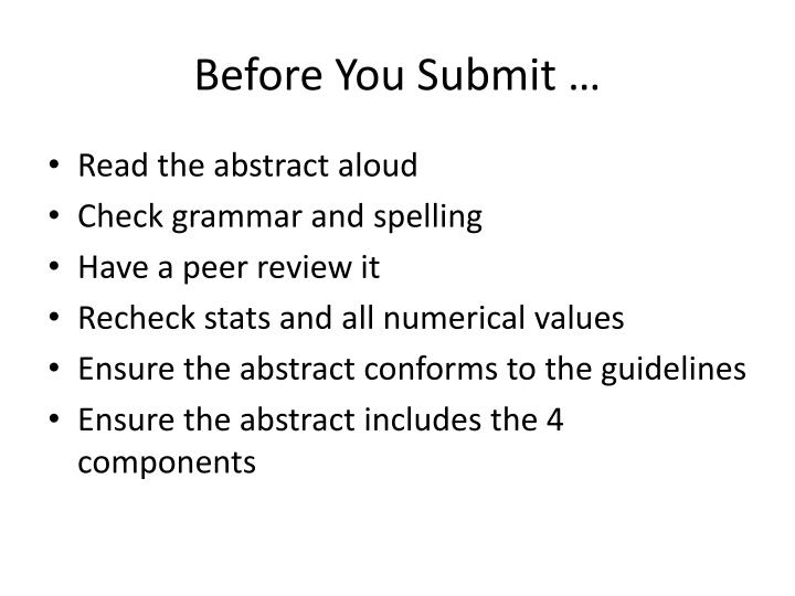 Before You Submit …