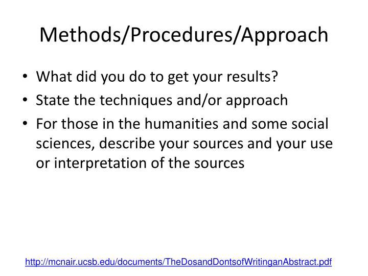 Methods/Procedures/Approach