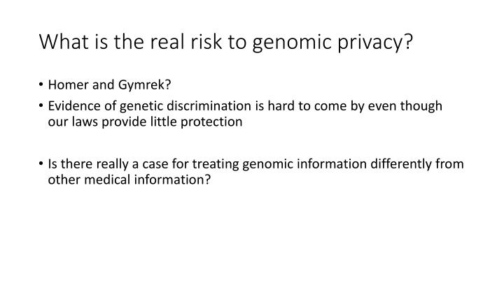 What is the real risk to genomic privacy