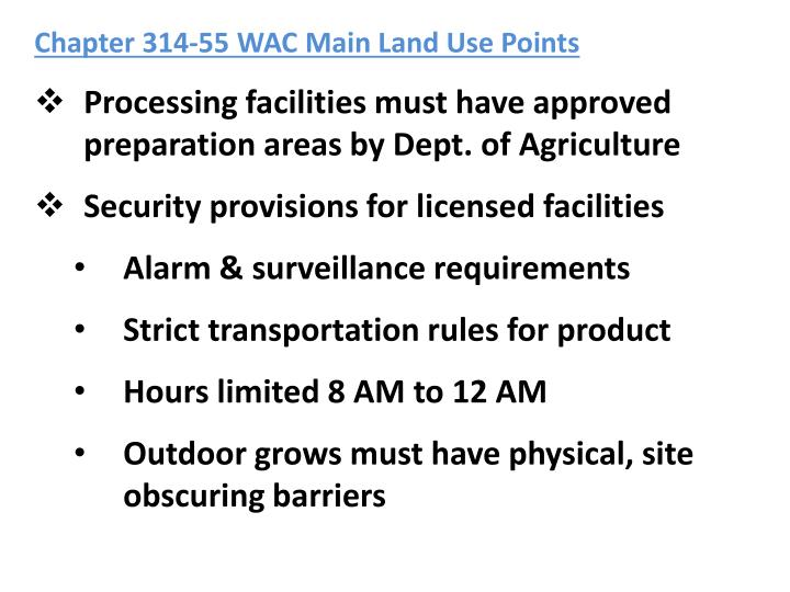 Chapter 314-55 WAC Main Land Use Points