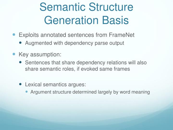 Semantic Structure Generation Basis