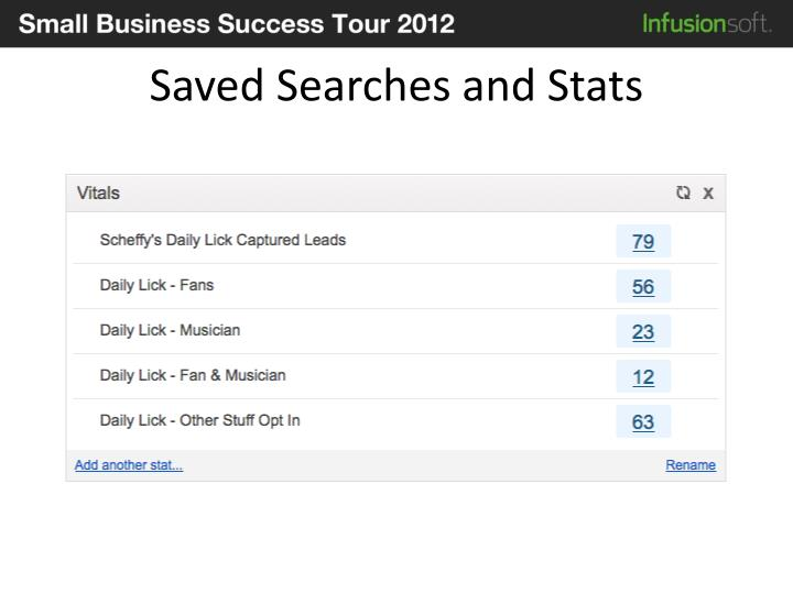 Saved Searches and Stats