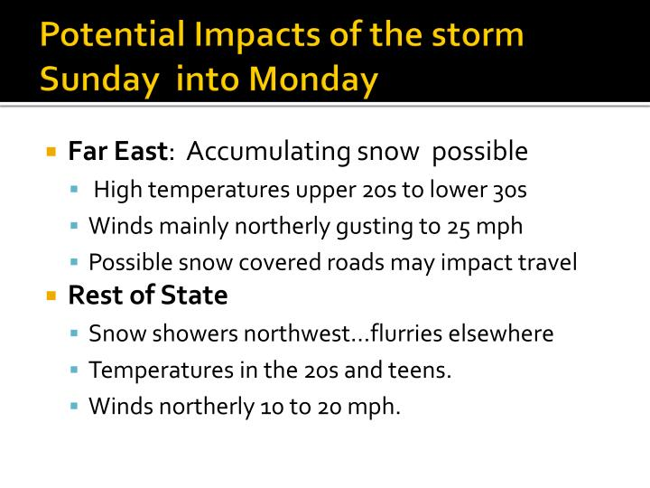 Potential Impacts of the storm Sunday