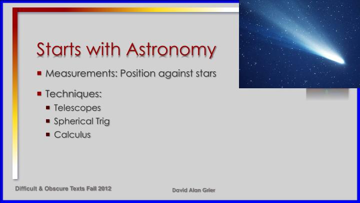Starts with Astronomy