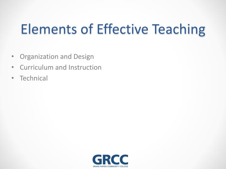 Elements of Effective Teaching