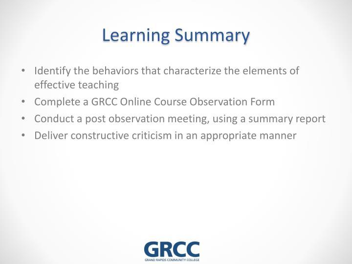 Learning Summary