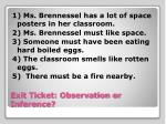 exit ticket observation or inference