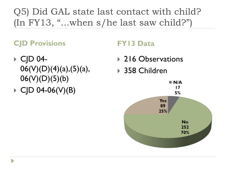"""Q5) Did GAL state last contact with child? (In FY13, """"...when s/he last saw child?"""")"""