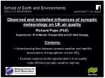 observed and modelled influences of synoptic meteorology on uk air quality