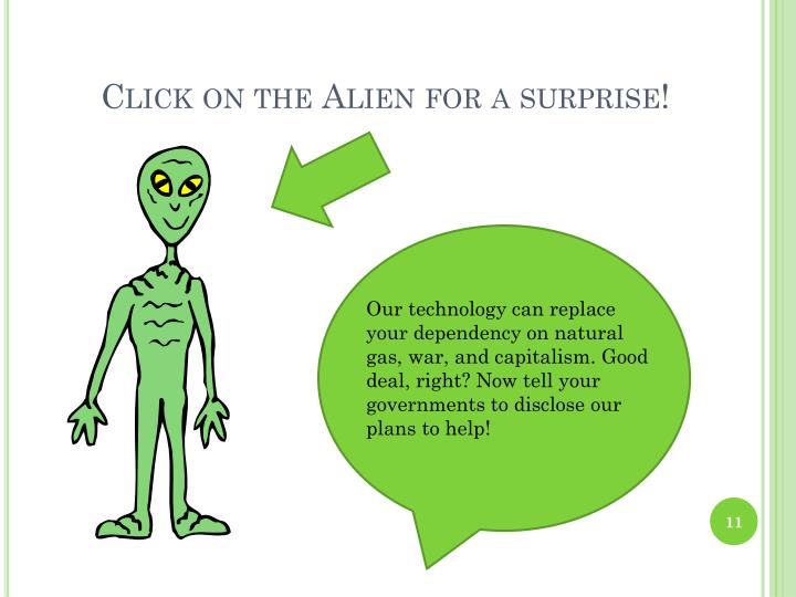 Click on the Alien for a surprise!