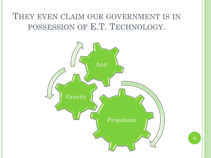 They even claim our government is in possession of E.T. Technology.