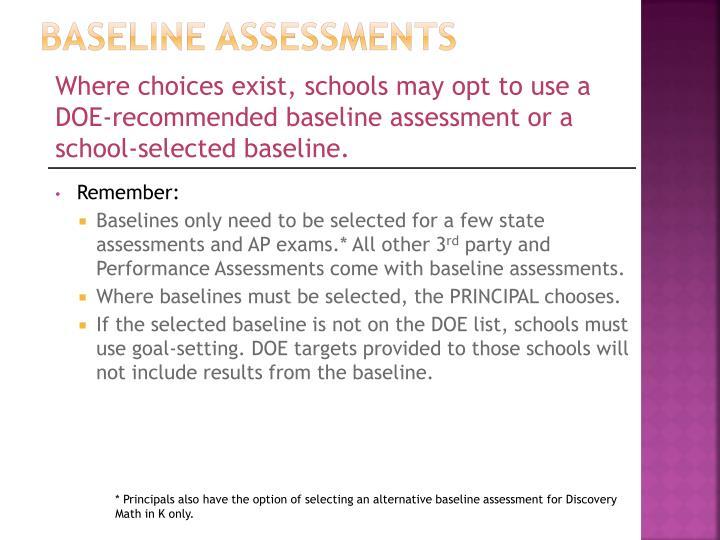 Baseline Assessments